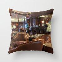 bar Throw Pillows featuring Lounge Bar by Deborah Janke