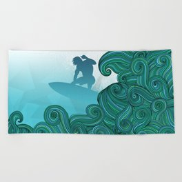 Surfer dude hangin ten and catching a wave Beach Towel