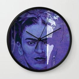 Frida Kahlo - between worlds - blurple Wall Clock