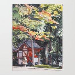 Shrine garden in Nara Poster