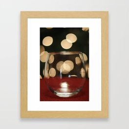 Red Wine Glass, Christmas Tree Lights Framed Art Print