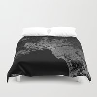 melbourne Duvet Covers featuring Melbourne map Australia by Line Line Lines
