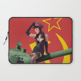 """Sovietsky by Land"" - The Playful Pinup - Russian Tank Pin-up Girl by Maxwell H. Johnson Laptop Sleeve"