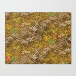 Golden floral japanese pattern Canvas Print