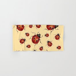 ABSTRACT RED LADY BUGS ON CREAM COLOR DESIGN ART Hand & Bath Towel