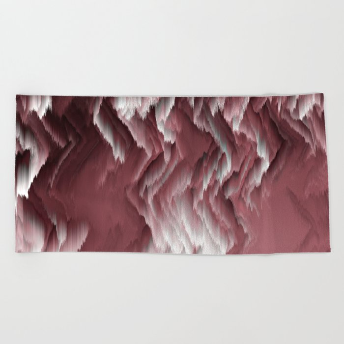 marsala and white abstract Beach Towel