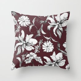 Burgundy Floral Vintage Style Pattern Throw Pillow