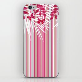 Red butterflies and pink striped leaves on a white background . iPhone Skin