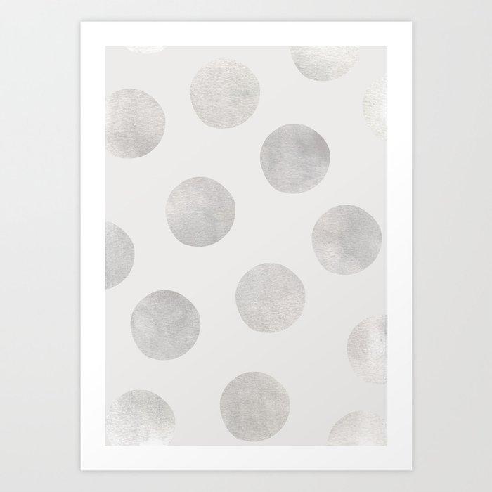 Silver Polka Dots Art Print