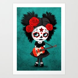 Day of the Dead Girl Playing Canadian Flag Guitar Art Print