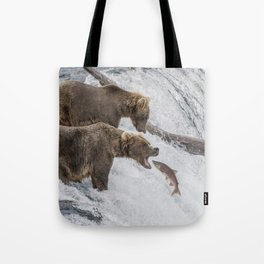 The Catch - Brown Bear vs. Salmon Tote Bag