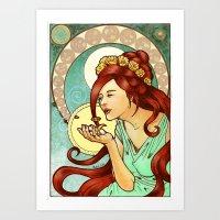 Nouveau Redhead Art Print