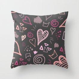 doodle heart 2 Throw Pillow