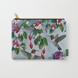 Hummingbirds in Fuchsia Flower Garden Carry-All Pouch