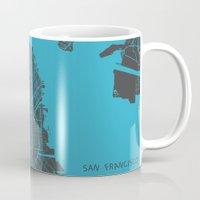 san francisco Mugs featuring San Francisco by Map Map Maps