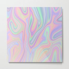 Liquid Colorful Abstract Rainbow Paint Metal Print