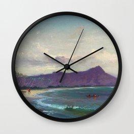 Diamond Head, Waikiki Beach, and Helumoa, Hawaii landscape painting by Charles Furneaux Wall Clock