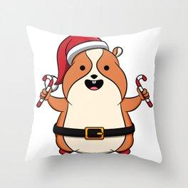 Cute Hamster Merry Christmas Candy Kids Gift Idea Throw Pillow