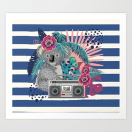 Grey koala with boombox and tropical leaves Art Print