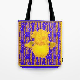 Blue-Gold Oriental Style Yellow Iris Floral Tote Bag