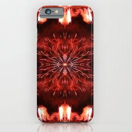 Beautiful red fireworks effect surreal shaped symmetrical kaleidoscope iPhone Case