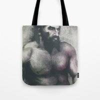 "dragon age Tote Bags featuring Dragon Age Inquisition - Blackwall by Barbara ""Yuhime"" Wyrowińska"