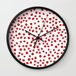 Red doodle dots Wall Clock