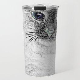 Siberian Kitty Cat Laying on the Marble Slab Travel Mug