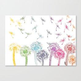 Rainbow dandelions Canvas Print