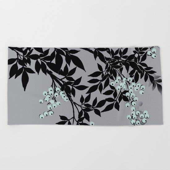 TREE BRANCHES BLACK AND GRAY WITH BLUE BERRIES Beach Towel