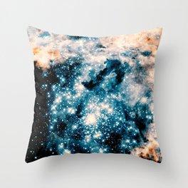 Nebula Galaxy Teal Peach Throw Pillow