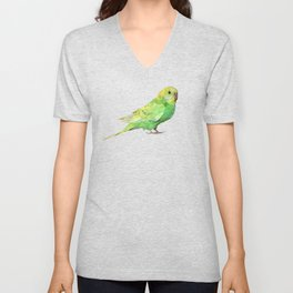 Geometric green parakeet Unisex V-Neck