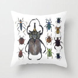 Insect collection (color) Throw Pillow