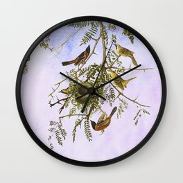 Sky Blue Pink with birds Wall Clock