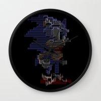 sonic Wall Clocks featuring Sonic by Anastase Kyriakos