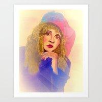 stevie nicks Art Prints featuring Stevie Nicks in Feathered Beret by Anne Merritt