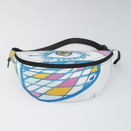 Abstract portrait of a girl with blue glasses, yellow eyes and color hair Fanny Pack