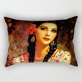Jesus Helguera Painting of a Mexican Calendar Girl with Braids Rectangular Pillow
