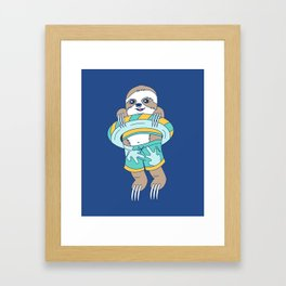 Swim Sloth Framed Art Print