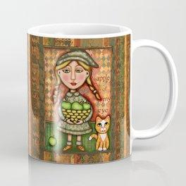 Apple of my Eye Girl with Cat Print Coffee Mug