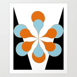 Mid-Century Modern Art 1.4 Aqua Orange Flower Art Print