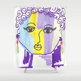 Crazy Face Purple Curls Shower Curtain