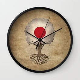 Vintage Tree of Life with Flag of Japan Wall Clock