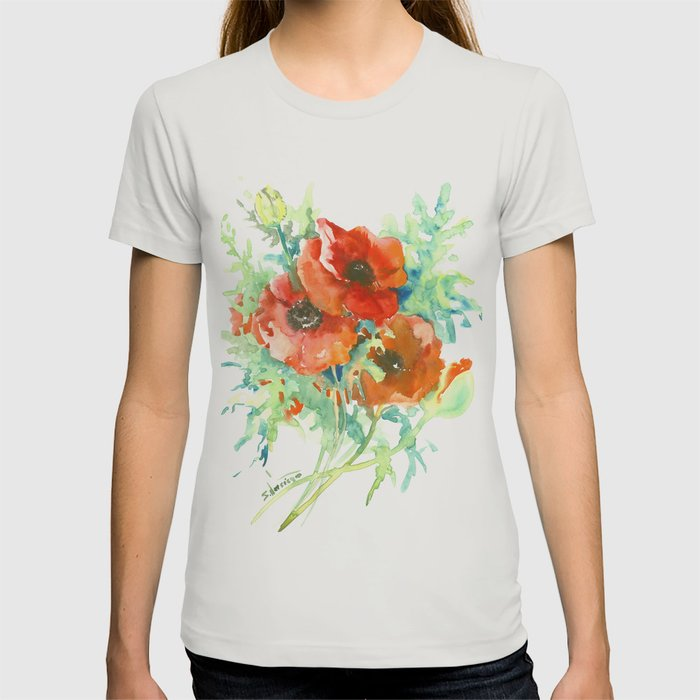 Red poppies red flowers french country t shirt by sureart society6 mightylinksfo