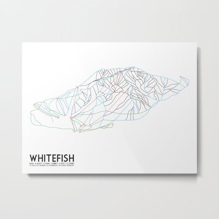 Whitefish, MT - Minimalist Trail Art Metal Print
