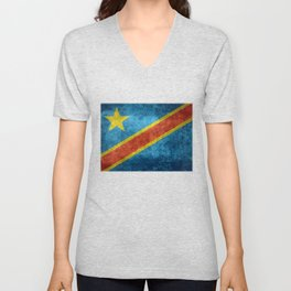 National flag of the Democratic Republic of the Congo, Vintage version (to scale) Unisex V-Neck