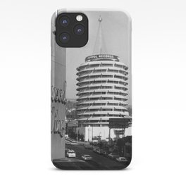 Capital Records Building, Los Angeles, California black and white photograph / black and white photography iPhone Case