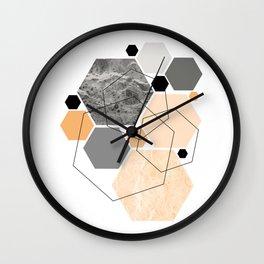 Orange Hexagon, Scandinavian Art Wall Clock