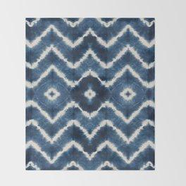 Shibori, tie dye, chevron print Throw Blanket