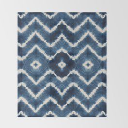 Shibori, tie dye, chevron print Throw Blanket